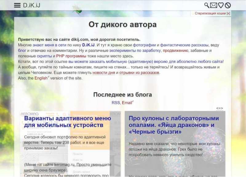 (30.10.2018 blogger) Дикий ком - Новый дизайн сайта