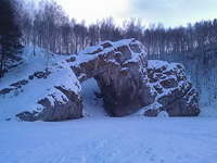 (27.01.2013 doroga) Гуляли с Аленой - Каменные ворота на реке Исеть