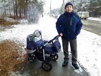 (27.10.2015 me, gorod, doroga) У нас в Каменске выпал снег - Гуляем с ребенком за рекой