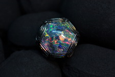 (08.09.2019 handmade) Опалесценция - Кулон - туманность с планетами из черного опала в стекле